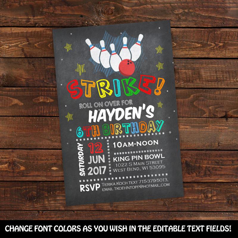 chalkboard bowling birthday party invitation