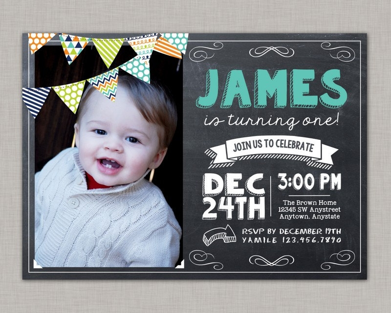 chalkboard boy birthday invitation