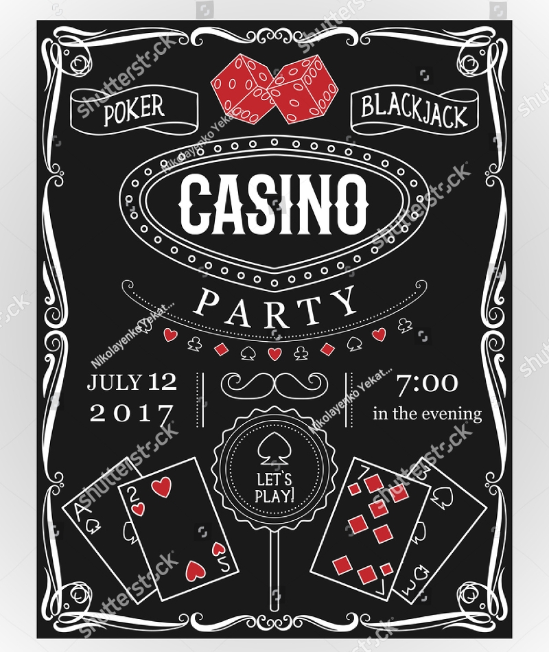 chalkboard casino party invitation