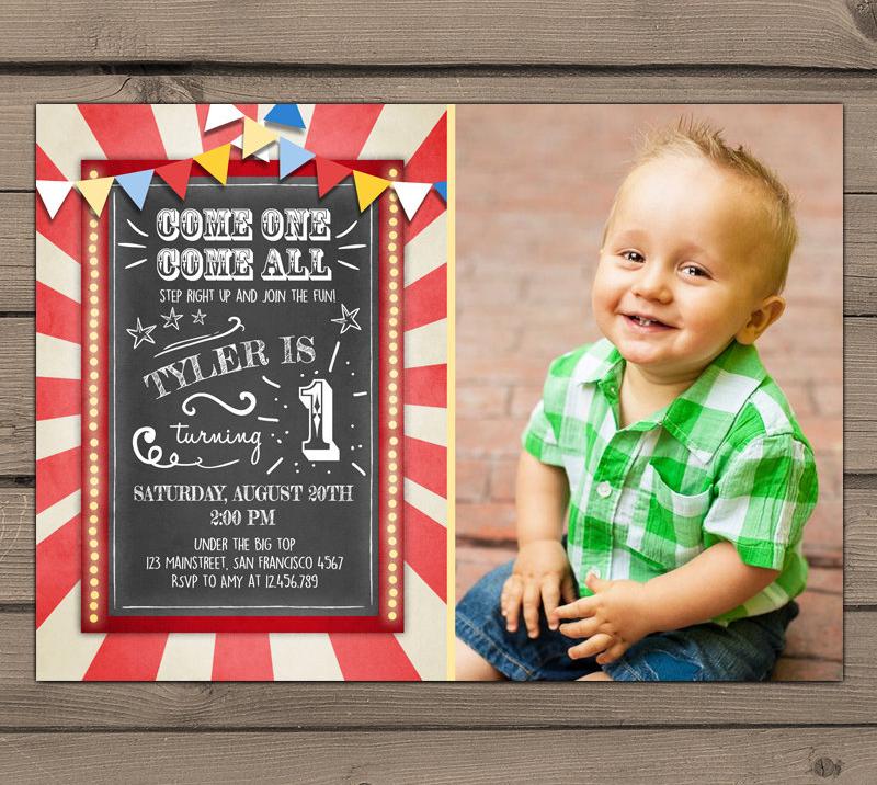 chalkboard circus invitation