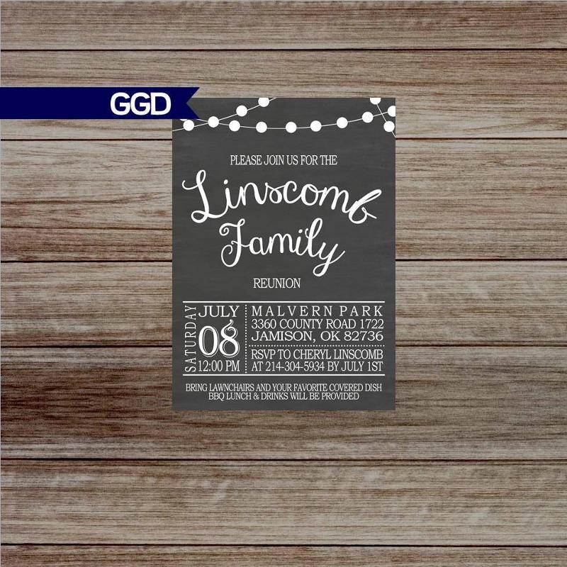 chalkboard family reunion invitation