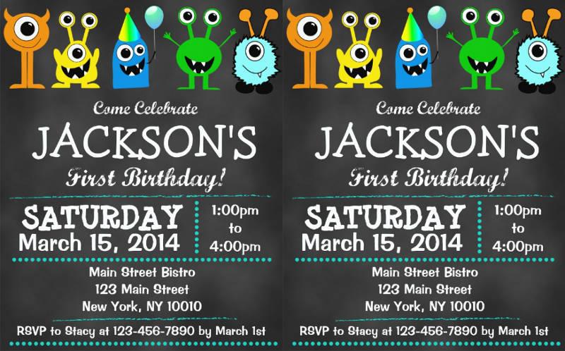chalkboard first birthday invitation design