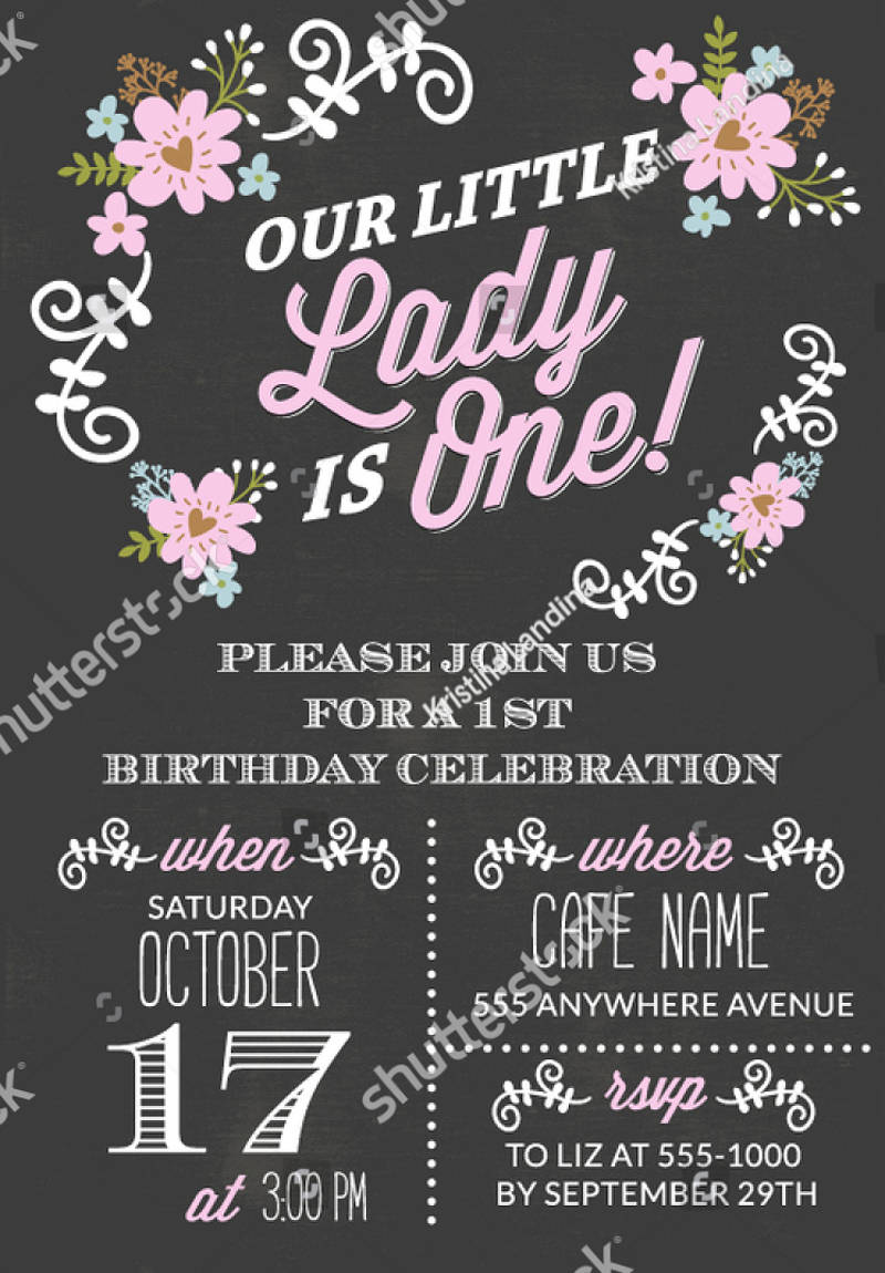 chalkboard first birthday invitation girl