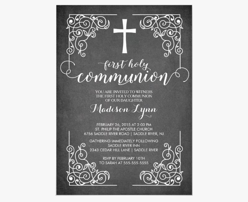 chalkboard first holy communion invitation