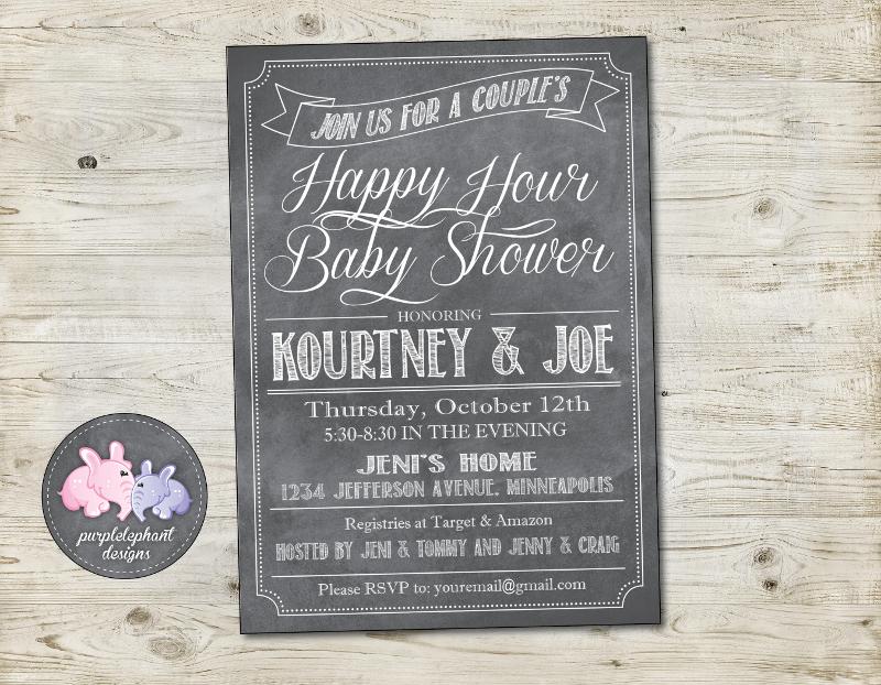 chalkboard happy hour baby shower invitation