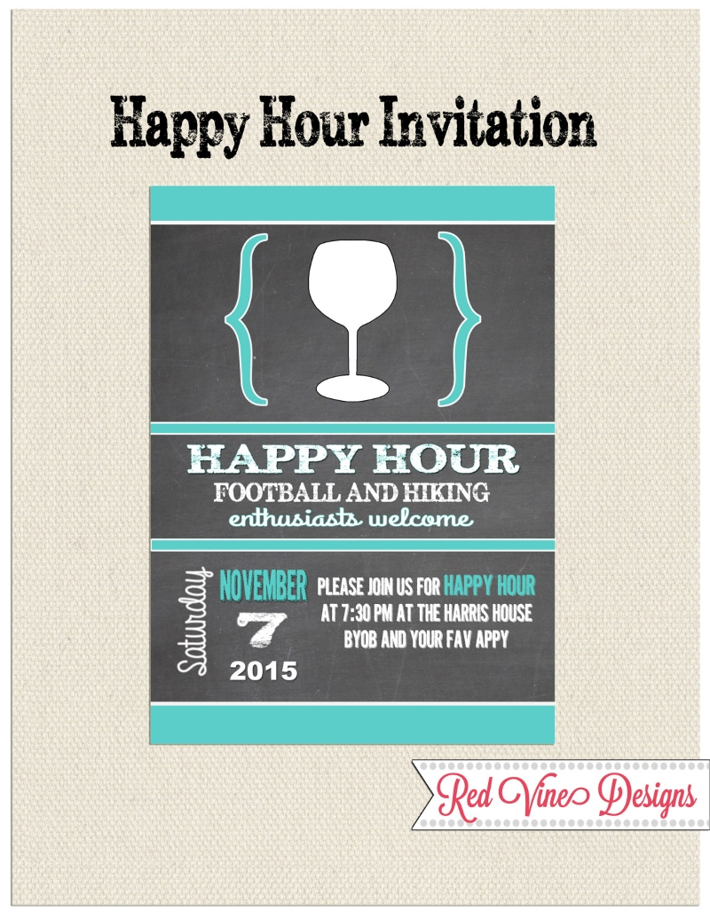 chalkboard happy hour invitation