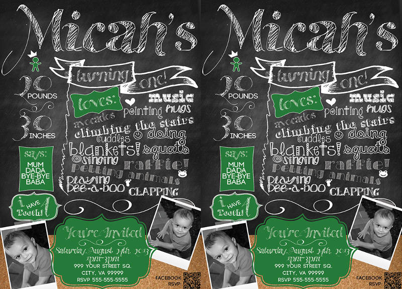 chalkboard inspired birthday invitation