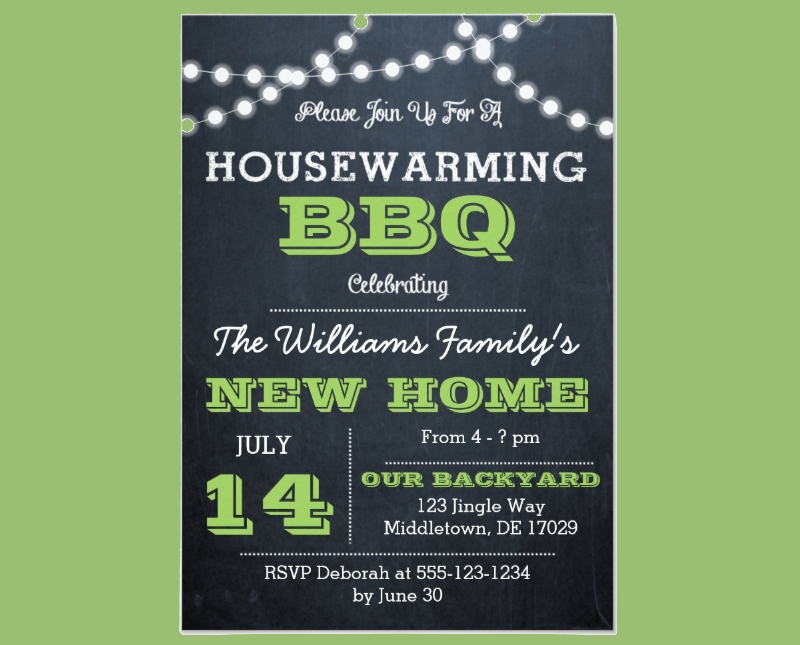 chalkboard lights green housewarming invitation1