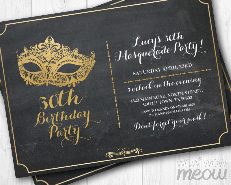 chalkboard masquerade party invitation