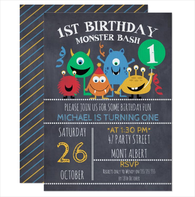 chalkboard monsters 1st birthday invitation