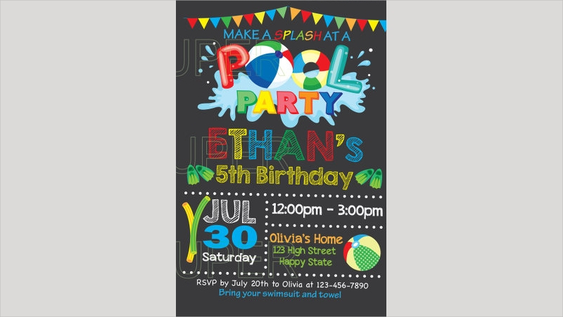 chalkboard pool party birthday invitation