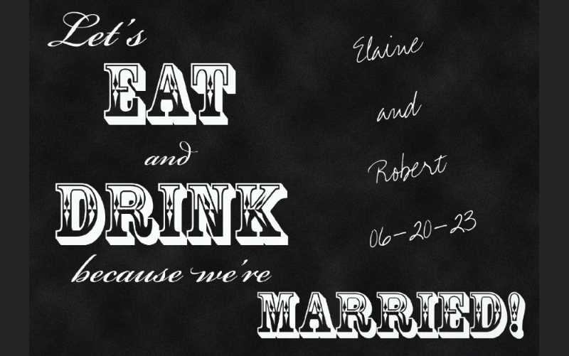 chalkboard post wedding reception invitation