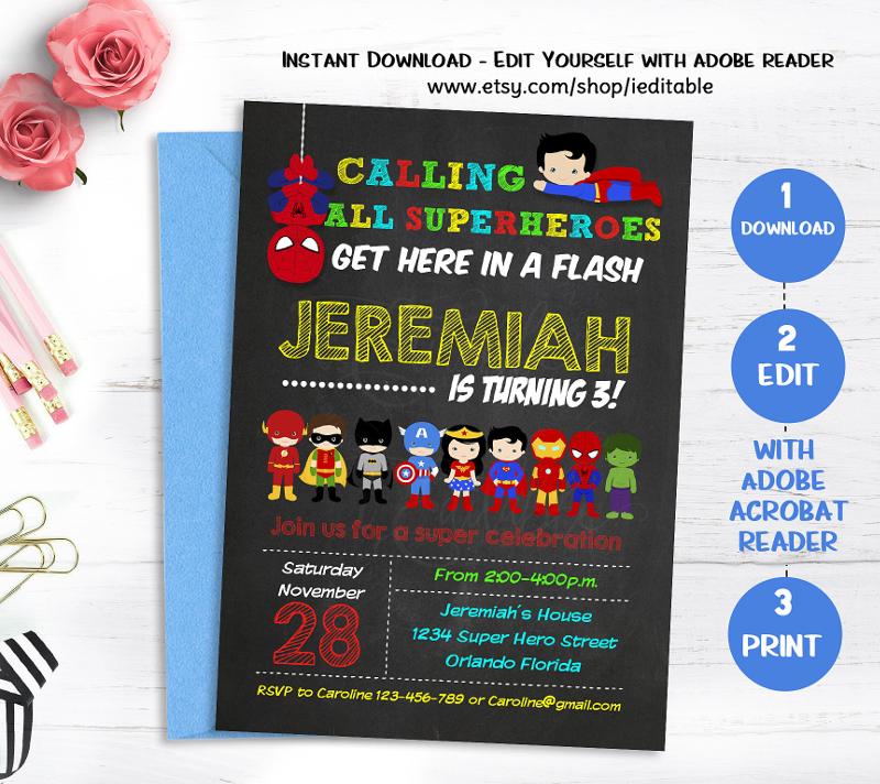 chalkboard superhero birthday invitation
