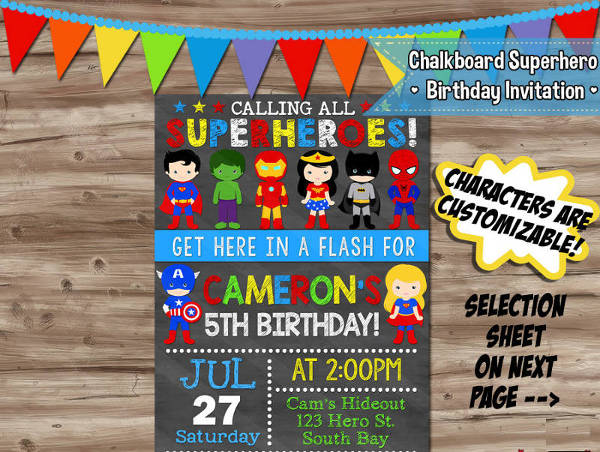 chalkboard superhero birthday invitation1