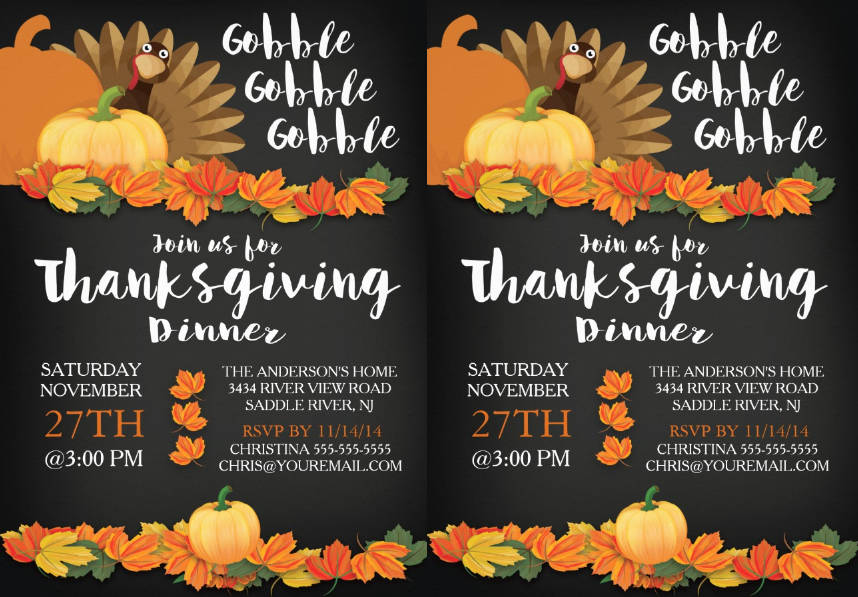 chalkboard thanksgiving invitation template
