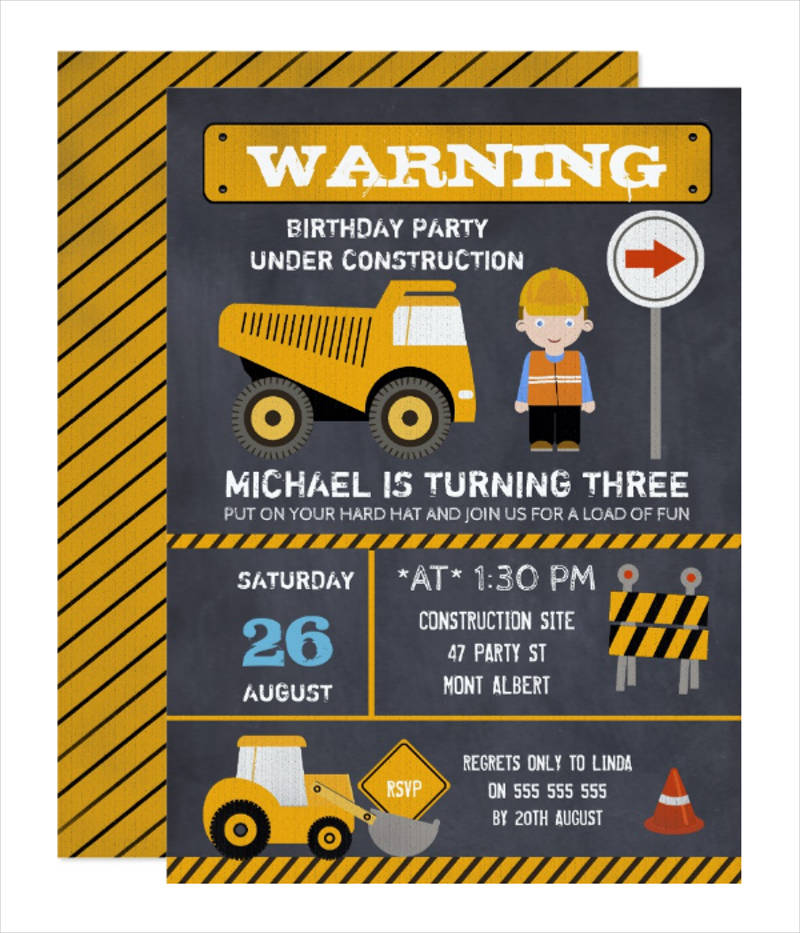 chalkboard under construction birthday party invitation