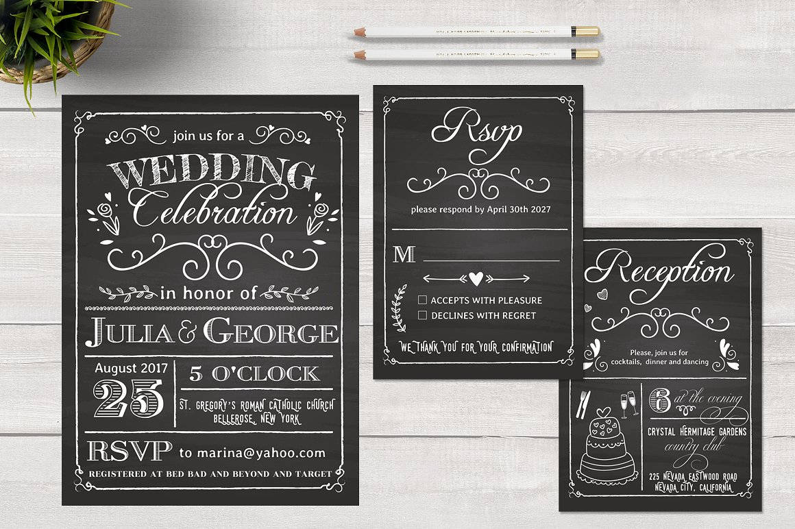 chalkboard wedding invitation card