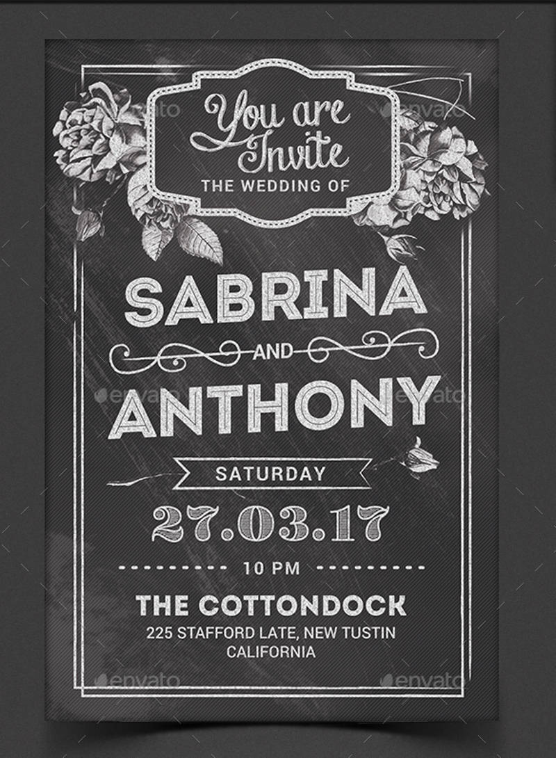 chalkboard wedding invitation design