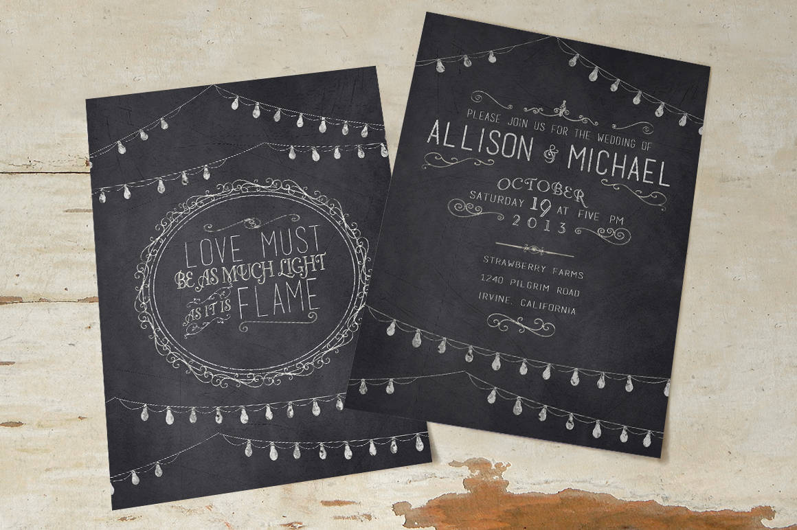 chalkboard wedding invitation thank you template