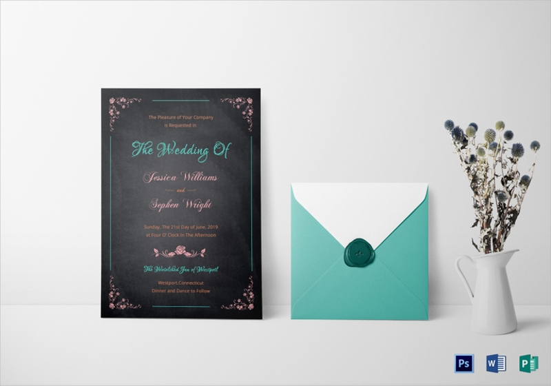chalkboard wedding party invitation template