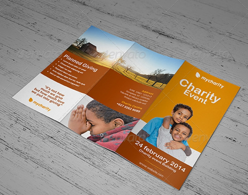 charity event trifold brochure template
