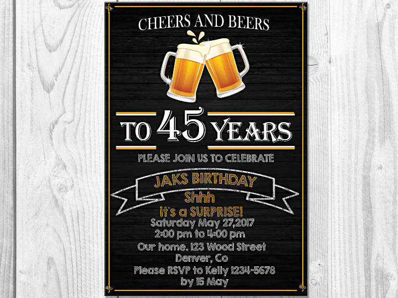 cheers and beers adult birthday party invitation