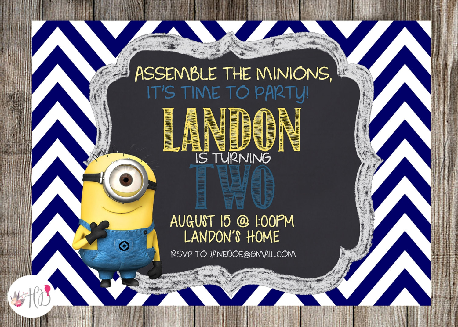 chevron minion party invitation