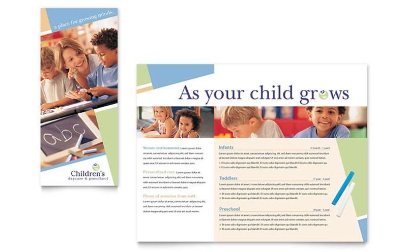 child care preschool brochure template