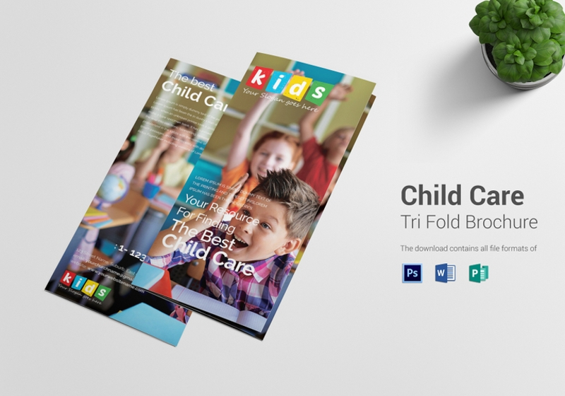 child care tri fold brochure template