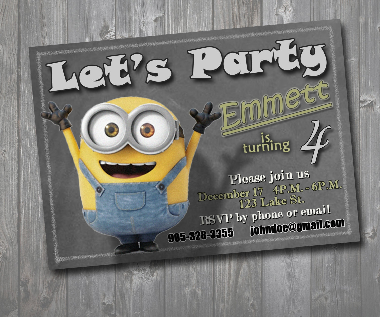 children minion party invitation