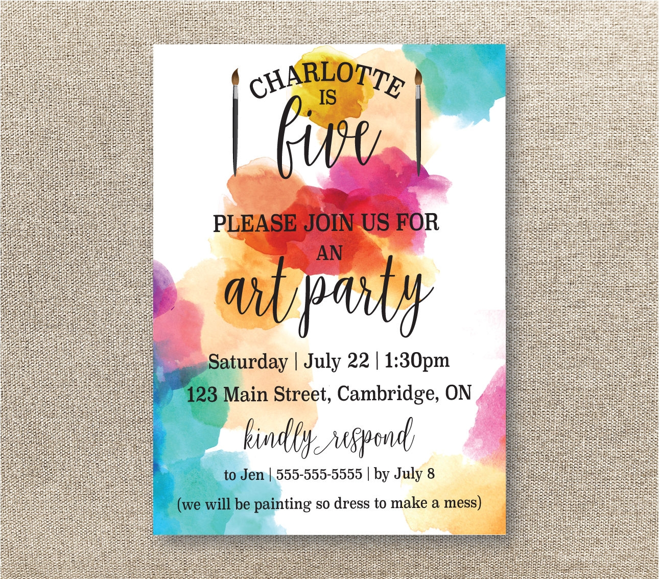 childrens art party invitation