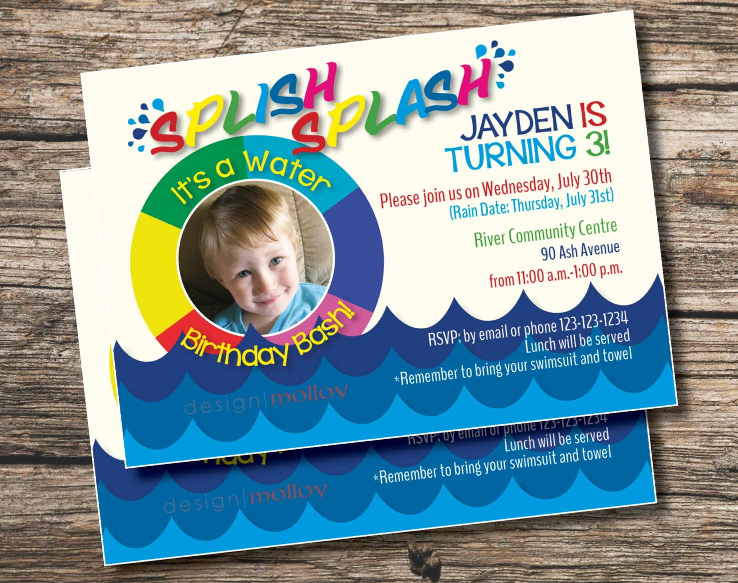 childrens pool party invitation