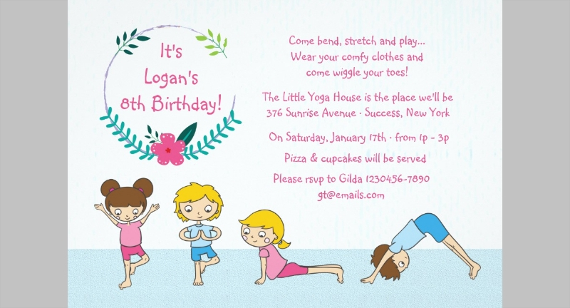 childrens yoga party invitation