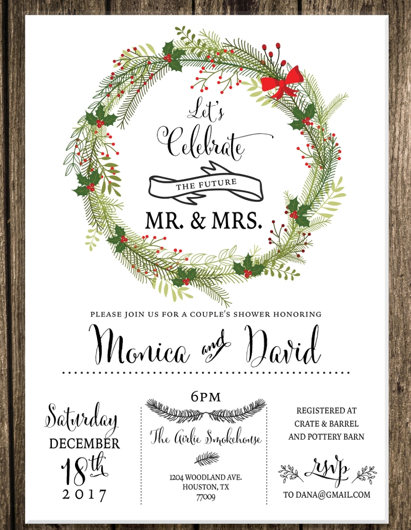 christmas couples shower invitation