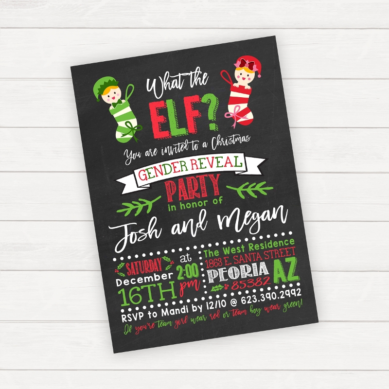 christmas gender reveal invitation