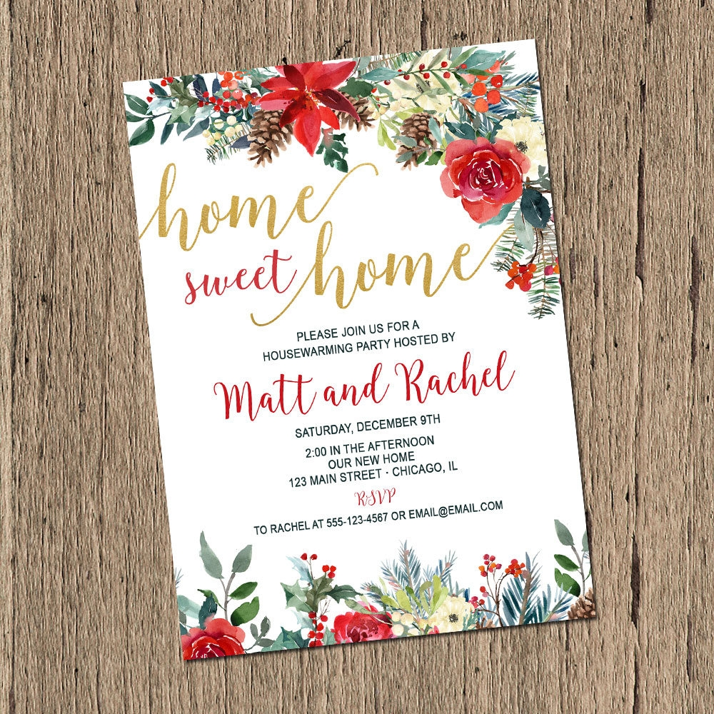 christmas housewarming party invitation