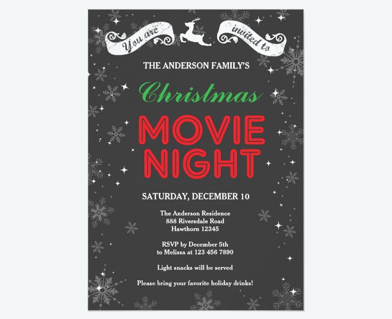 christmas movie night invitation1