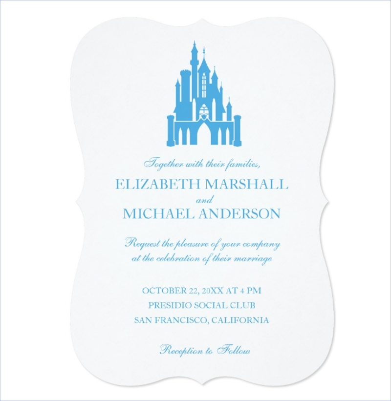 cinderella castle wedding invitation