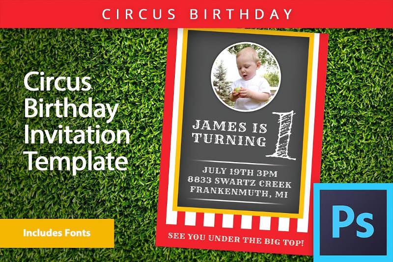 circus baby boy first birthday invitation