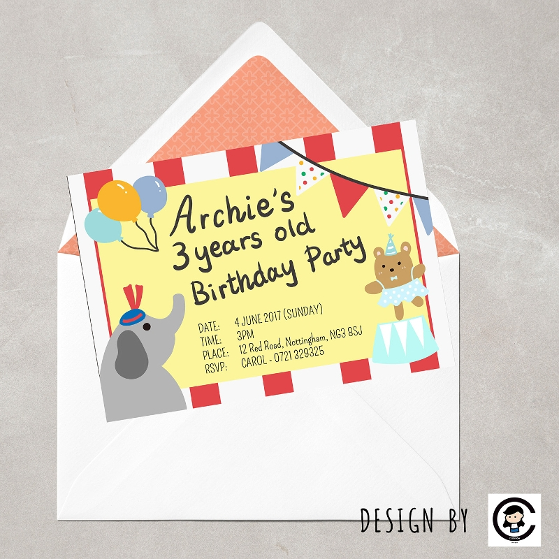 circus birthday party invitation card
