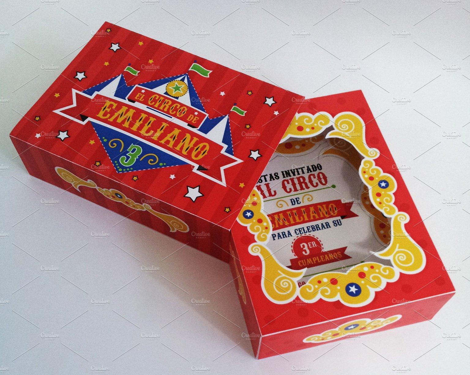 circus box birthday invitation