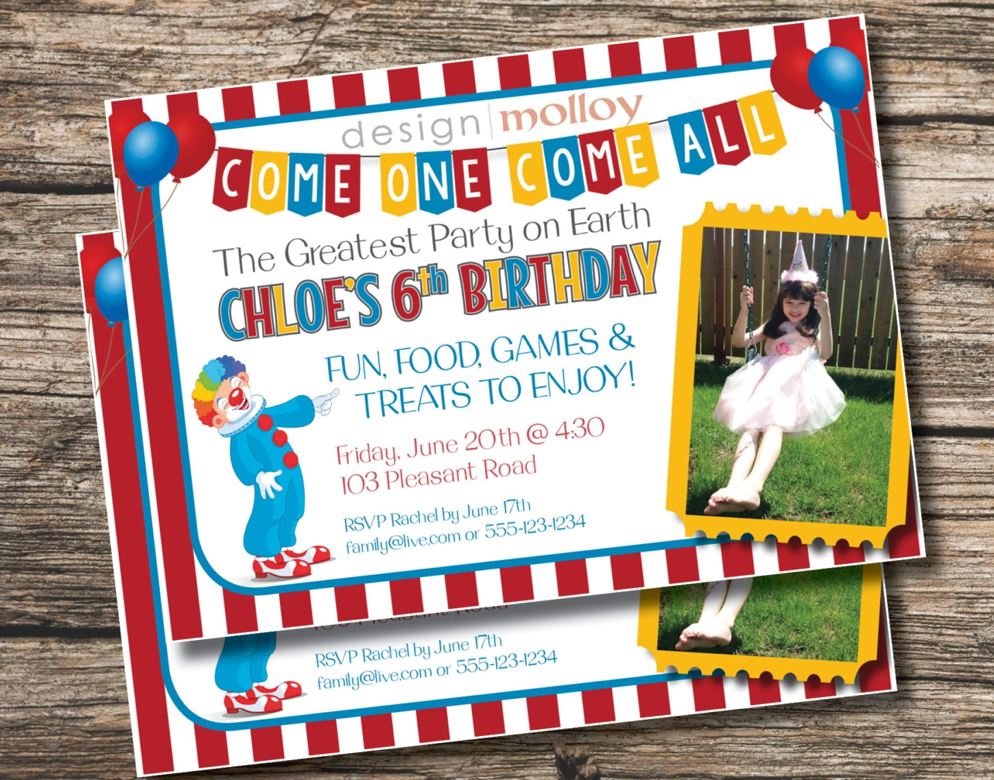 Circus Childrens Birthday Invitation