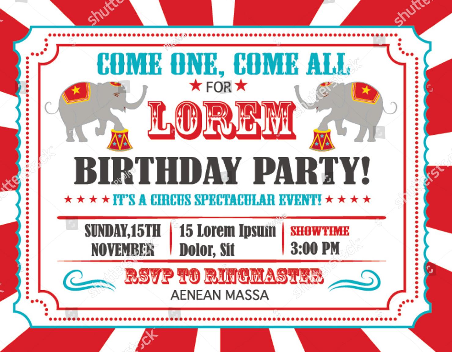 circus happy birthday card invitation design
