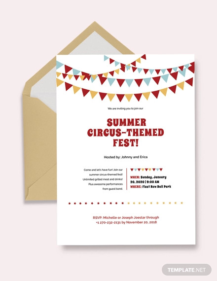 circus invitation sample