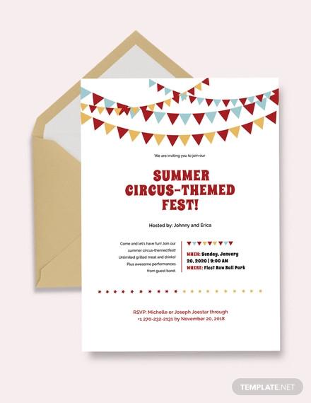 circus invitation sample