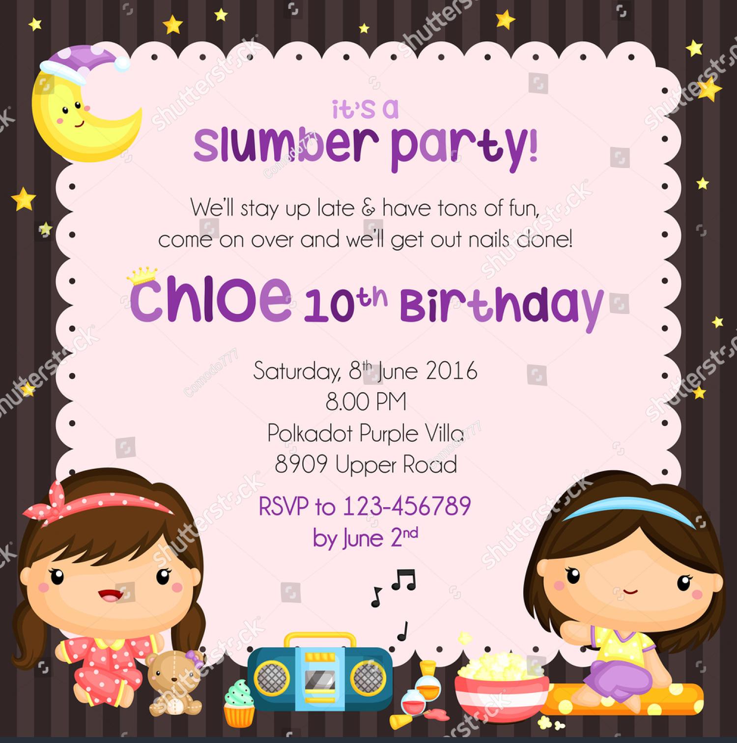 classic doll slumber party invitation
