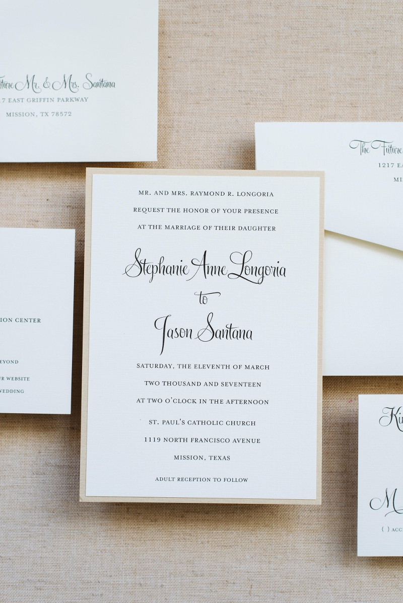 classic gold wedding invitation