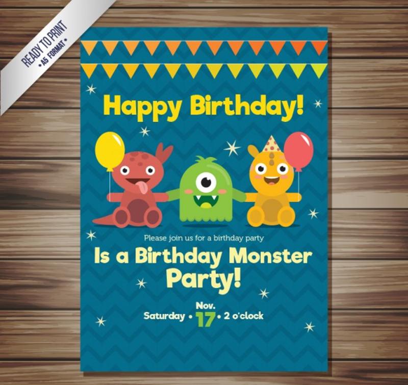 classic monster birthday invitation1