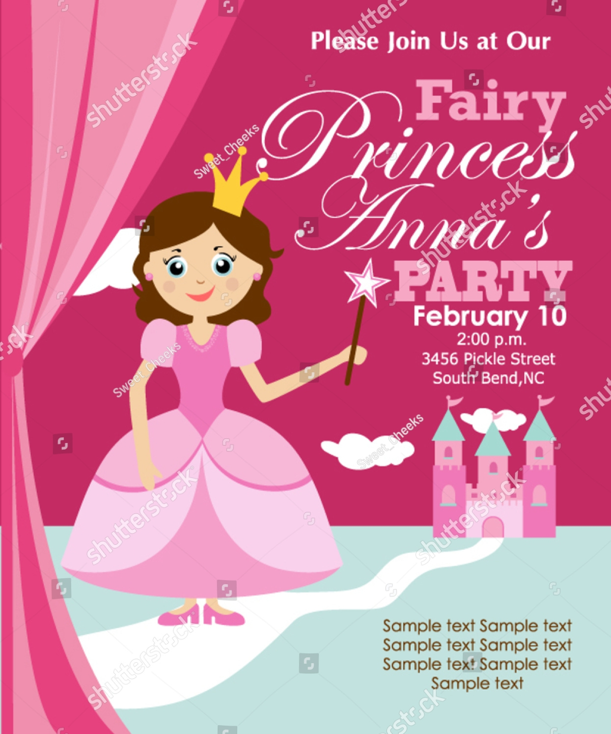 classic princess party invitation