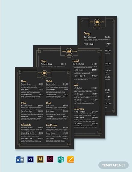 classy classic seafood menu template
